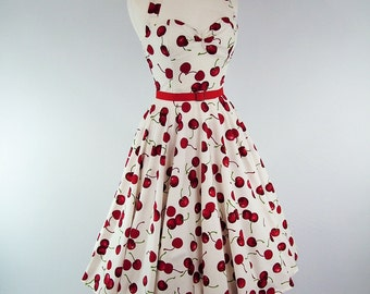 Made To Measure Cherry Full Circle Skirt Dress - Detachable Straps & Belt