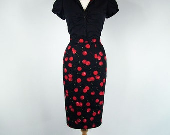 Made To Measure Black Cherry High Waist Pencil Skirt