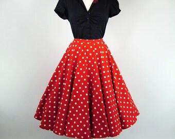 Made To Measure Red & White Polka Dot Full Circle Skirt