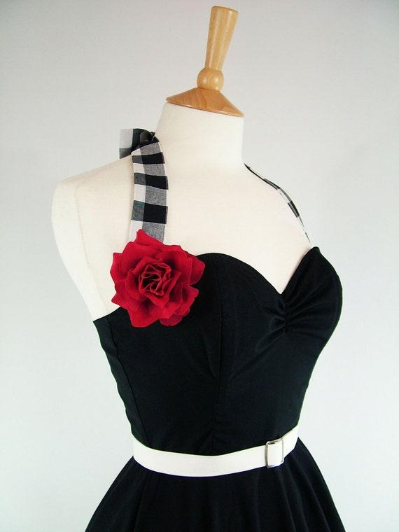 Made To Measure Black And White Gingham Full Circle Skirt Dress - Detachable Straps & Belt
