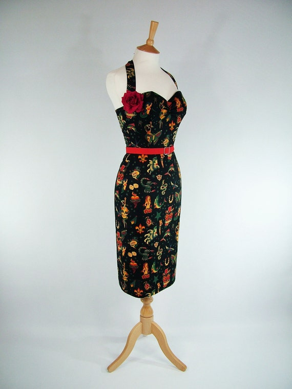 Made To Measure Black Tattoo Pencil Skirt Dress - Detachable Straps & Belt