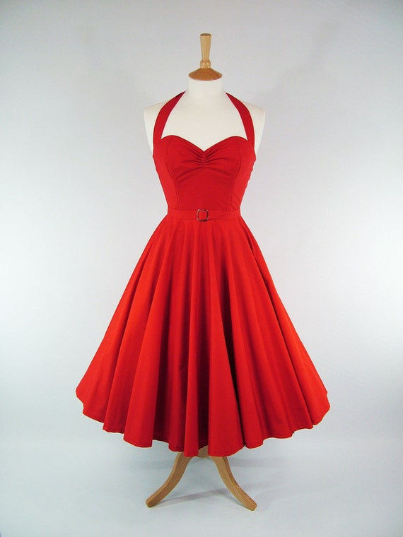Made To Measure Red Full Circle Skirt Dress - Detachable Straps & Belt