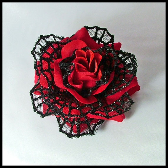 Red & Black Velvet Rose Hair Flower - Spider Web Net Petals
