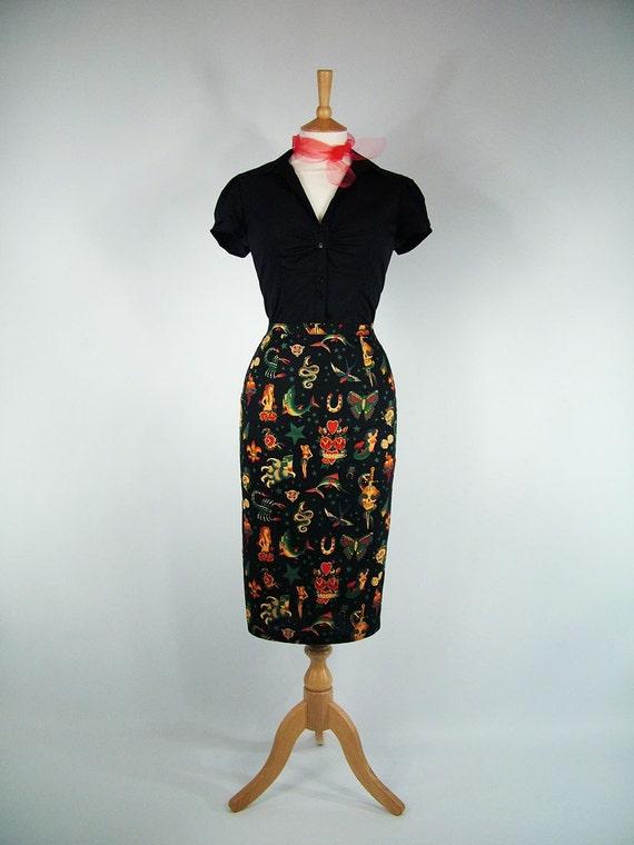Made To Measure Black Tattoo High Waist Pencil Skirt