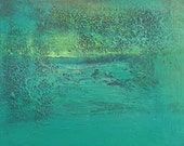 TURQUOISE green Square Painting - ORIGINAL Abstract Painting - Acrylic on Canvas - Modern small Fine Art - ooak -TeofanaART