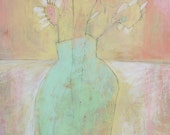 PASTEL Painting, Floral ART, Original Painting, Flowers in a mint green vase, pink peach art