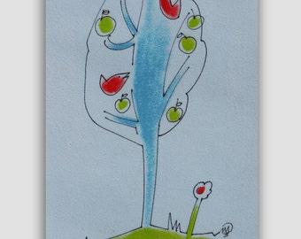 Abstract TREE Drawing - Nursery Decor, BIRDS painting - Original Ink pastel Drawing - kids room art, Cute HAPPY art
