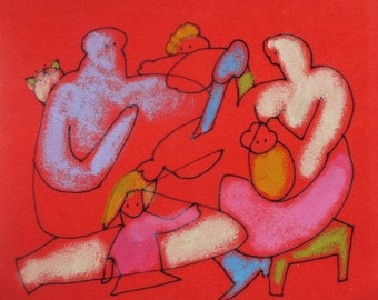 Red MINIATURE Drawing - Family Artwork - ORIGINAL Colorful art - Fine Art Illustration - red painting