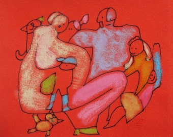 FAMILY ARTWORK - Abstract drawing - Miniature red painting - Colorful Art