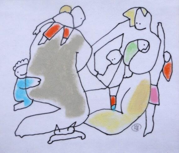 Original mini art - COLORFUL Pastel Drawing - HAPPY ART - Abstract Art Illustration -  nursery decor - mom dad kids cat art