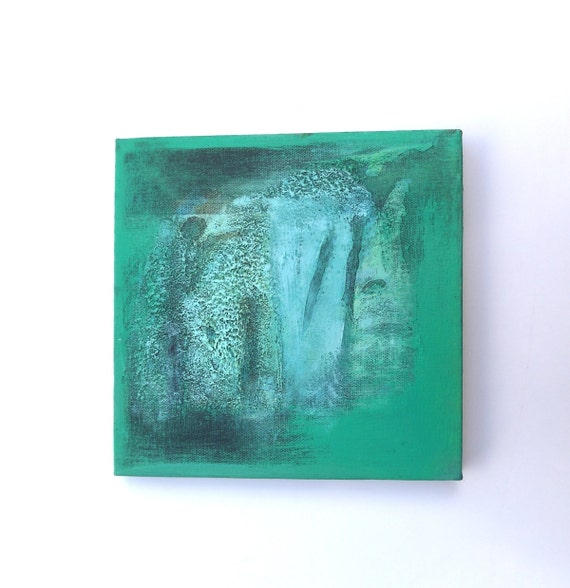 Turquoise Square Painting - ORIGINAL ABSTRACT Painting - TEXTURED Acrylic on Canvas - Modern small Fine Art - blue green art
