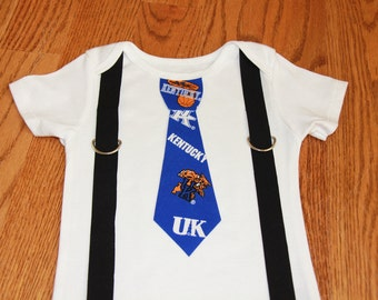 Kentucky Wildcats boys tie and Suspenders  onesie or shirt - add leg warmers