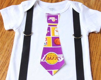 Los Angeles Lakers boys Suspenders and Tie onesie or shirt
