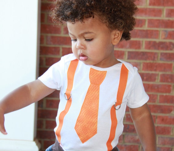 Boys tie and Suspenders Onesie or Shirt - orange READY TO SHIP