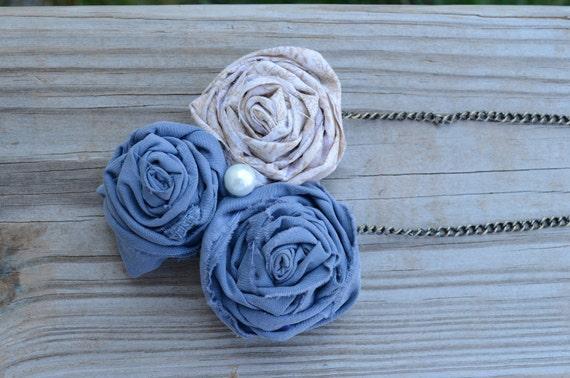 Fabric Rosette Necklace