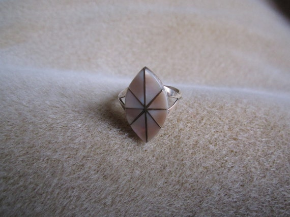 Zuni Pink Mother of Pearl Sterling Silver Ring