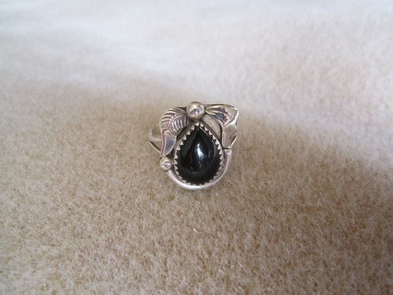 Navajo Sterling Silver Black Onyx Ring