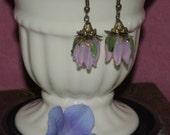 Pink Tulip Lamp Work Dangle Earrings