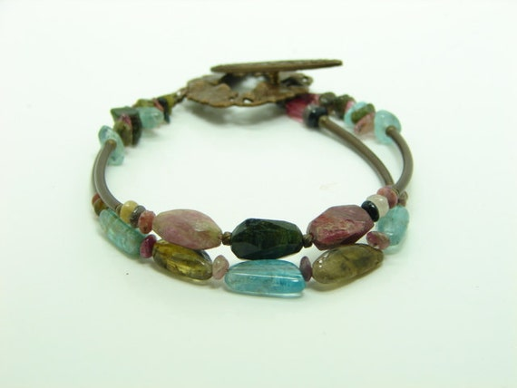 Multi-Colored Tourmaline Antiqued Brass Beaded  Bracelet, Apatite, Two Rows