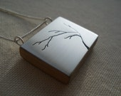 contemporary modern brushed sterling silver tree cut out necklace.  Great birthday gift for friend, sister, mom.