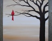 Red Bird Original Acrylic Canvas