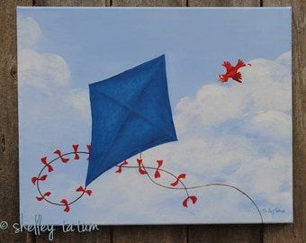 Childrens' Wall Art - Kite Flying, Blue - Original Acrylic