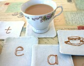 Time for Tea Coasters, set of freehand embroidery coasters orange and green designs