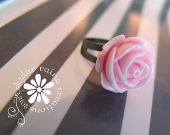 RING - PINK Resin Flower RING  - Adjustable Gunmetal grey band - fits all sizes - flower ring