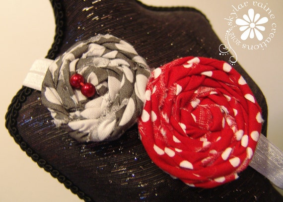 Boutique Style Elastic Headband -Double Rosette in Red & Grey - ADJUSTABLE FOE headband - fits Adults Kids - Toddlers- Babies - OSU colors