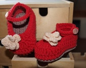 Baby Mary Janes Booties Red Size 0-6 Months