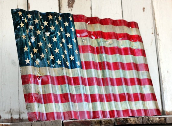 Reserved - AMERICAN FLAG - Reclaimed, painted and distressed metal sign- Industrial, Rustic, Home Decor, Wall Art, Patriotic