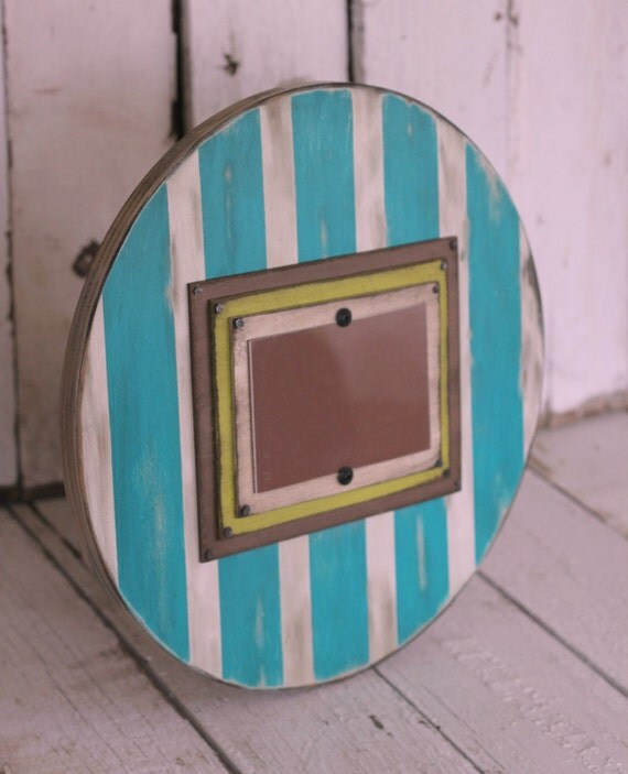 Hand Painted and Distressed round picture frame  - home decor, wall art, custom