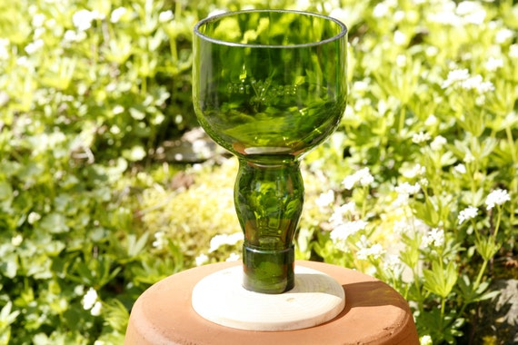Wine glass made from upcycled bottle