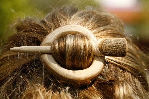 Shawl pin/ hair slide - barrette - natural edged Ash wood slice