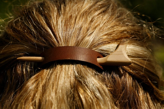Hair or Shawl pin or stick  - Hand carved cherry wood with leather