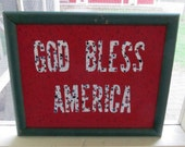CLOSING SALE 50% OFF God Bless America - 4th of July Typography Word Art Quote, Framed