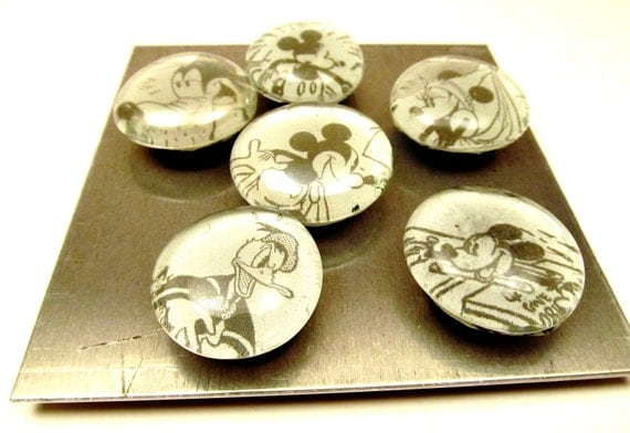 Handmade Mickey Mouse Magnets - Disney Vintage Black and White - Kitchen, Kids Room Set of 6