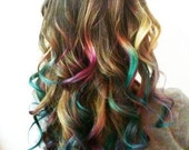 B O L D or pastel colored human hair extension/ clip-in hair/ dip dye ombre (2) hair extensions