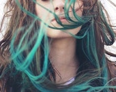 """T U R Q U A T I C   teal colored pastel 18"""" long human hair extension/ clip-in hair/ dip dye ombre (6) 22 inch hair extensions"""