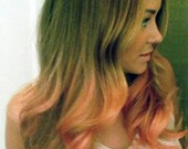 P E A C H E S  and cream  blonde colored human hair extension/ clip-in hair/ dip dye ombre (6) hair extensions