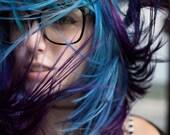 U N I C O R N   teal/purple  colored pastel/ human hair extension/ clip-in hair/ dip dye ombre (2) hair extensions