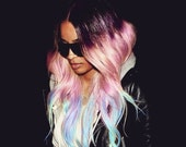 P A L E pastel paradise/ rainbow/ human hair extension/ clip-in hair/ dip dye ombre (2) hair extensions