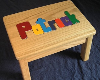 solid oak -wood name personalized puzzle step stool- primary letters