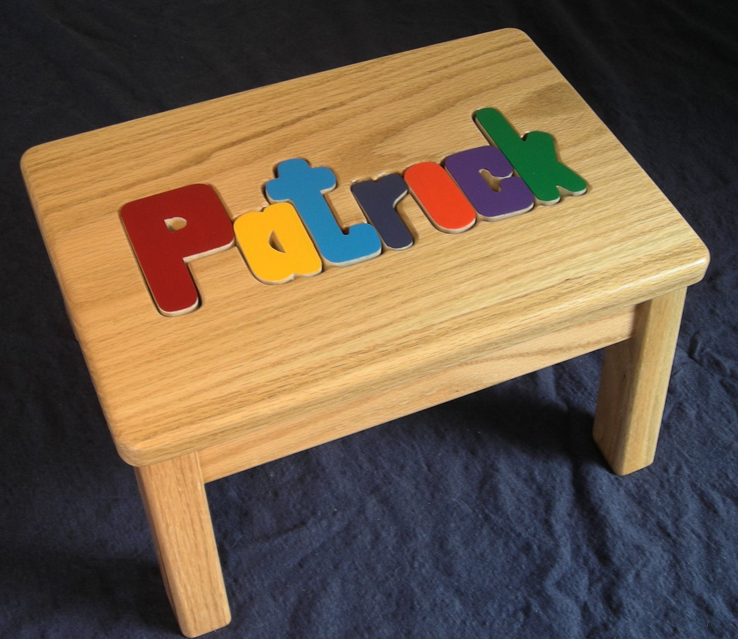 Solid Oak Wood Name Personalized Puzzle Step Stool Primary