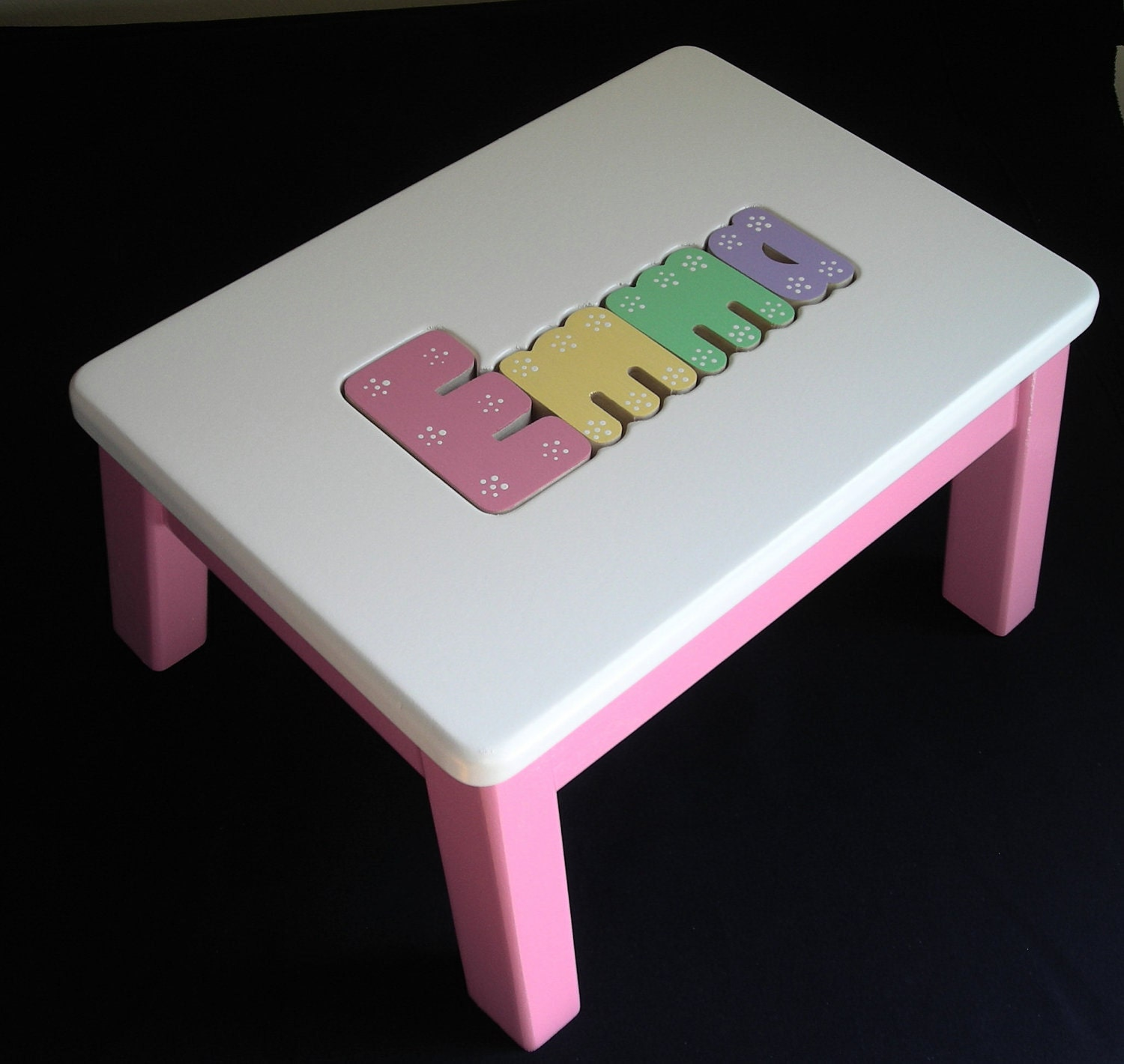 Wooden Personalized Wooden Name Puzzle Step Stool Hot Pink