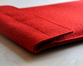 11 inch Macbook Air Sleeve Red 100% Wool Felt Case - Velcro 11""