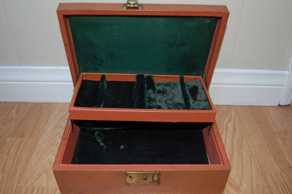Vintage jewelry box, brown and dark green