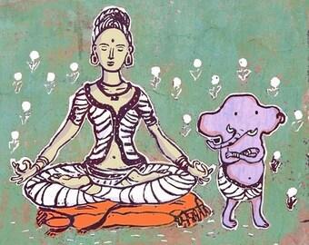Parvati meditating with Ganesha - art print - green background