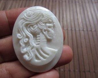 Hand Carved   Skeleton Goddess , Cameo, Jewelry making Supplies B547
