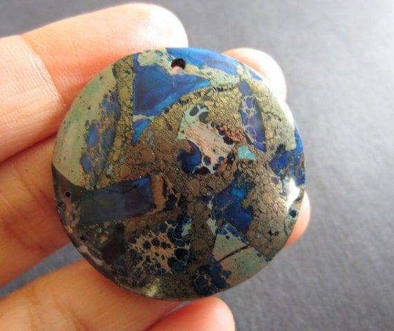 Beautiful Blue Sea Sediment   Pyrite  Pendant  Beads Cabochon B070
